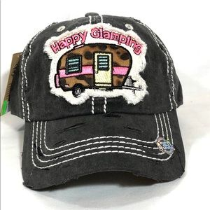 HAPPY CAMPING Vintage Baseball Cap Black Hat